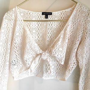 The Limited Natural Cotton Crochet Shrug Tie Front